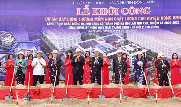 Inician tres proyectos de infraestructura en distrito suburbano de Hanoi hinh anh 1