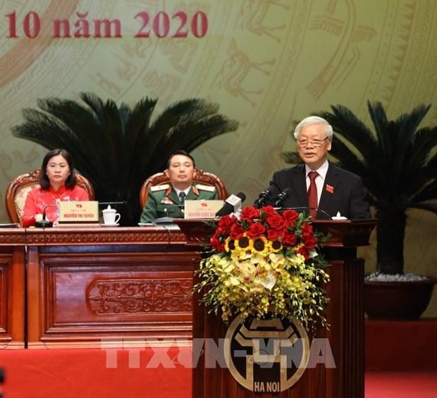 Maximo dirigente de Vietnam exige incrementar aportes del comite partidista en Hanoi al desarrollo nacional hinh anh 1