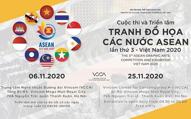 Efectuan en Hanoi tercera Exposicion de Pinturas Graficas de la ASEAN hinh anh 1