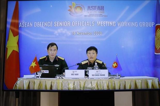 Inauguran reunion en linea del Grupo de Trabajo de Altos Funcionarios de Defensa de ASEAN hinh anh 1