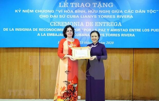 Condecoran a embajadora de Cuba en Vietnam con alta distincion de amistad hinh anh 1