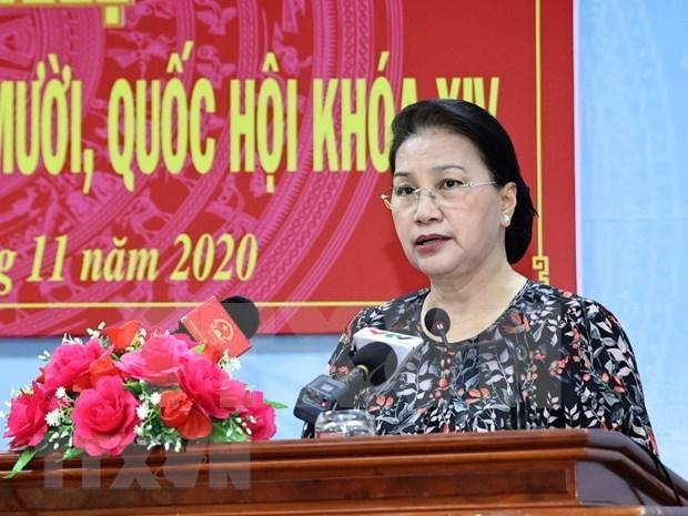 Presidenta del Parlamento destaca perspectiva economica de Vietnam en encuentro con electores hinh anh 1