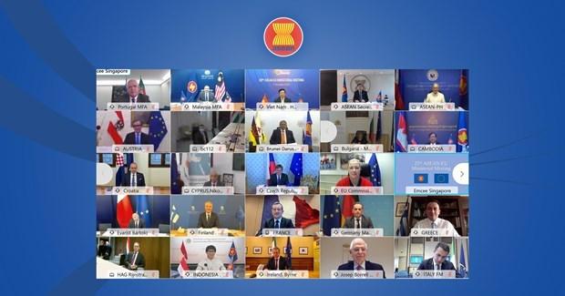 ASEAN y Union Europea agilizan cooperacion en lucha contra COVID-19 hinh anh 1