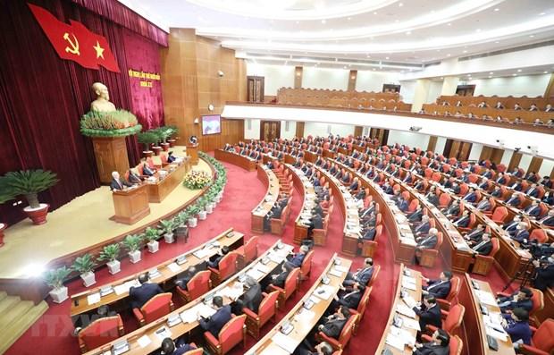 Concluye Comite Central del Partido Comunista de Vietnam primera jornada de su XIV pleno hinh anh 1