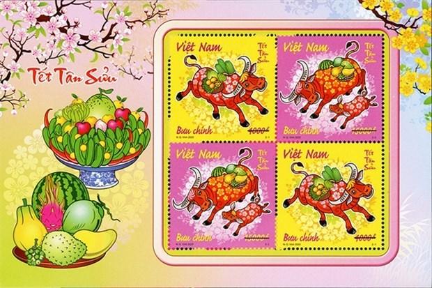 Lanzan conjunto de sellos en Vietnam por el ano lunar del bufalo 2021 hinh anh 1