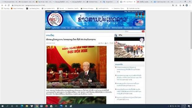Medios laosianos informan sobre inauguracion del XIII Congreso Nacional partidista de Vietnam hinh anh 1