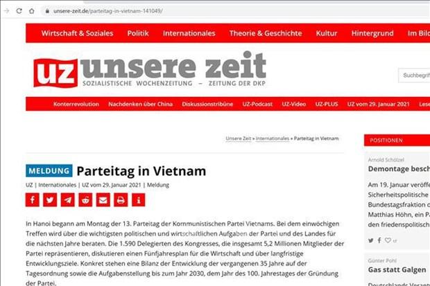 Congreso partidista decidira principales tareas politicas y economicas de Vietnam, segun periodico aleman hinh anh 1
