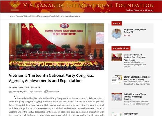 Lazos Vietnam-India seguiran desarrollandose despues del XIII Congreso Nacional del PCV hinh anh 1