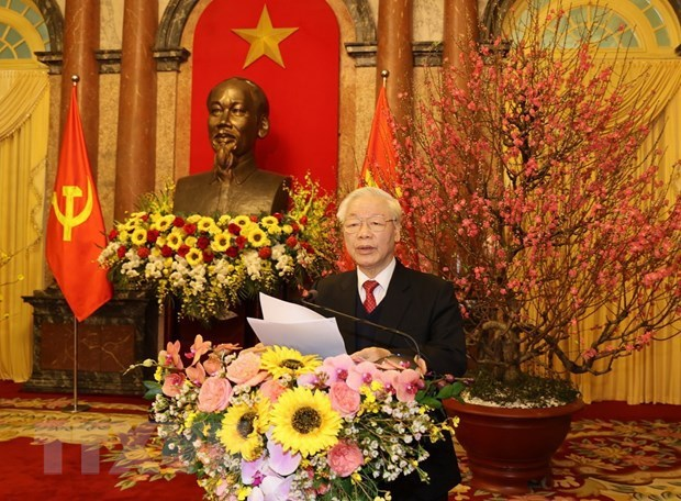 Maximo dirigente de Vietnam exhorta a construir un pais mas prospero y feliz con motivo del Ano Nuevo Lunar hinh anh 1