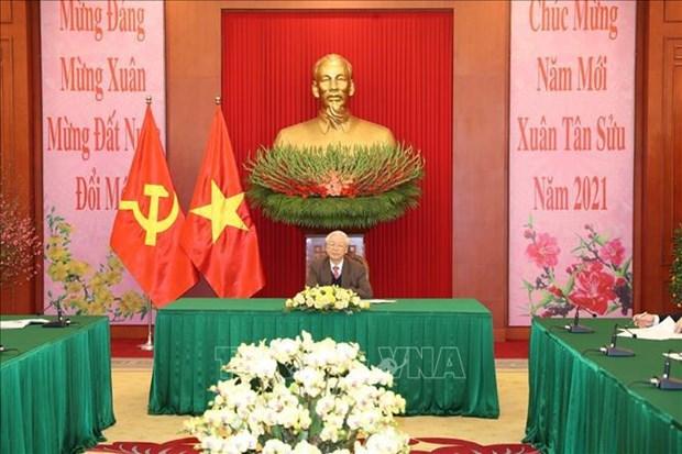 Maximos dirigentes de Vietnam y China sostienen conversacion telefonica hinh anh 1