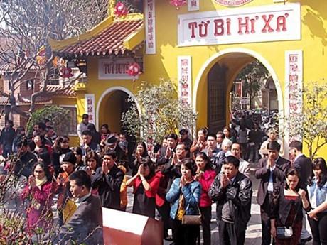 Visitan pagoda en primeros dias del Ano Nuevo hinh anh 1