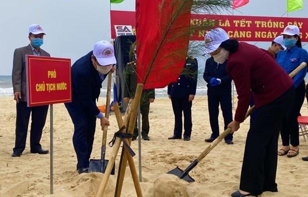 Vicepresidenta vietnamita lanza campana de plantacion de arboles hinh anh 1