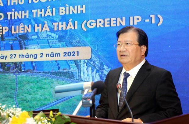 Vicepremier pide crear condiciones para atraer proyectos en zona industrial en Thai Binh hinh anh 1