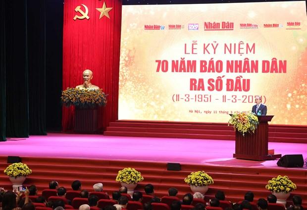 Primer ministro de Vietnam resalta el empeno del periodico Nhan Dan hinh anh 1