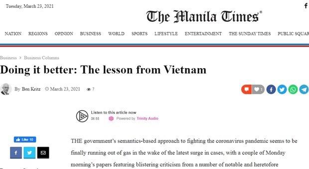 Medios filipinos elogian formula de Vietnam contra el COVID-19 hinh anh 1