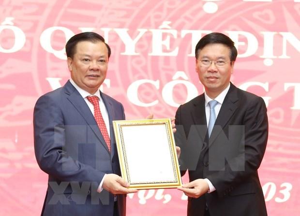 Anuncian decision de nombramiento a nuevo secretario del Comite partidista en Hanoi hinh anh 1