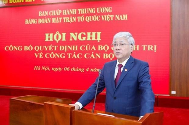 Designan nuevo secretario de Comite de Asuntos partidistas del Frente de la Patria vietnamita hinh anh 1