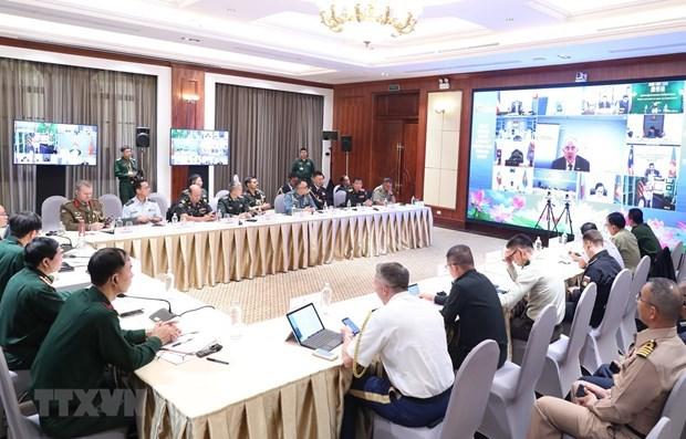 Efectuan reunion virtual del Grupo de trabajo de altos funcionarios de Defensa de la ASEAN y socios hinh anh 1