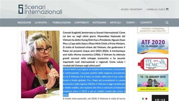 Confia consul honoraria en Italia en nueva dirigencia de Vietnam hinh anh 1