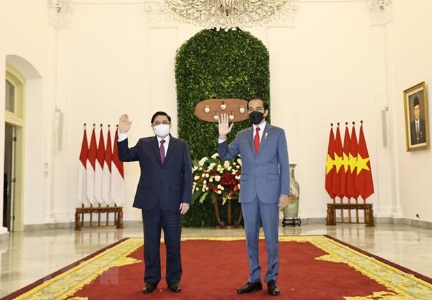 Primer ministro vietnamita se reune con el presidente indonesio hinh anh 1