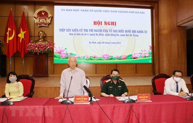Maximo dirigente partidista de Vietnam se reune con votantes en Hanoi hinh anh 1