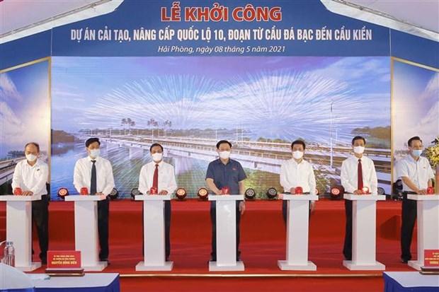 Inician remodelacion de carretera nacional del numero 10 en ciudad vietnamita de Hai Phong hinh anh 1