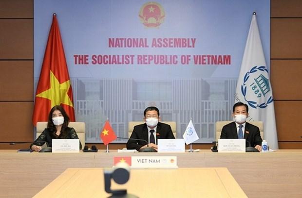 Vietnam asiste a la reunion virtual de la UIP sobre cuestiones de paz y seguridad hinh anh 1