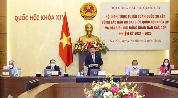 Presidente del Parlamento vietnamita preside teleconferencia nacional sobre trabajo electoral hinh anh 2