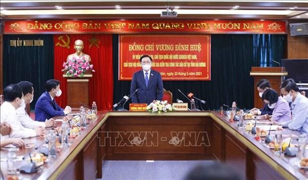 Supervisa presidente del Parlamento vietnamita jornada electoral hinh anh 1