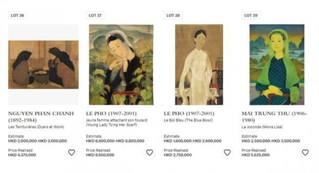 Subastada pintura vietnamita en 1,1 millones de dolares en Hong Kong (China) hinh anh 1