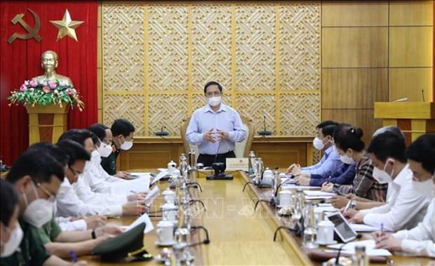 Premier trabaja con provincia de Bac Giang sobre soluciones para combatir COVID-19 hinh anh 1