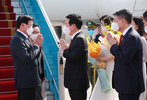 Maximo dirigente de Laos inicia visita oficial a Vietnam hinh anh 1