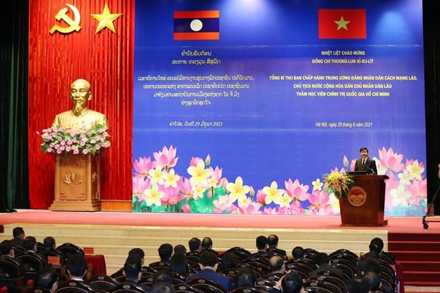 Maximo dirigente de Laos visita Academia Nacional de Politica de Ho Chi Minh hinh anh 1