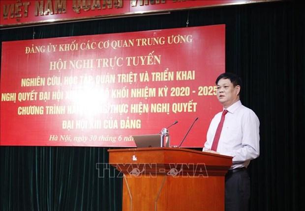 Fomentan implementacion de resolucion del XIII Congreso del Comite partidista en bloque de organos centrales hinh anh 1