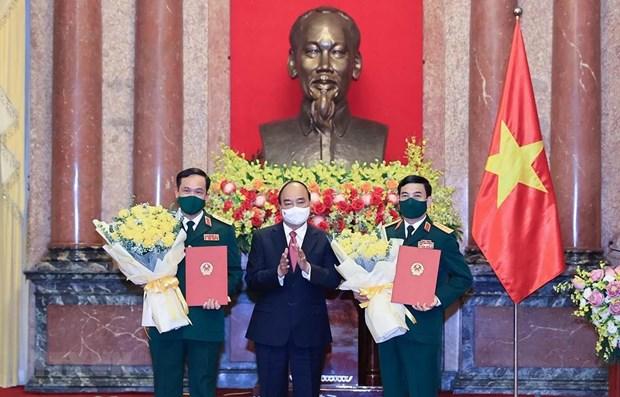 Elevan rango de dirigentes del Ministerio de Defensa de Vietnam hinh anh 1