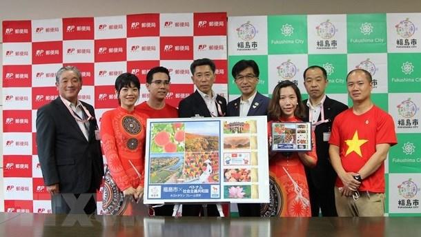Fukushima emite sellos especiales con imagenes vietnamitas en ocasion de Juegos Olimpicos hinh anh 2