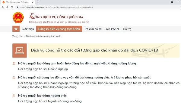 Portal Nacional de Servicios Publicos de Vietnam favorece a trabajadores afectados por el COVID-19 hinh anh 1