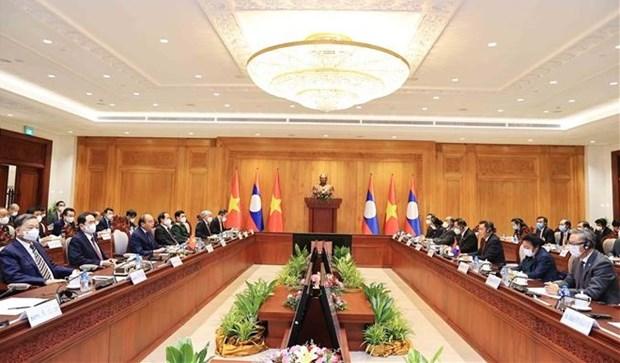 Presidente de Vietnam dialoga con titular del Parlamento de Laos hinh anh 1