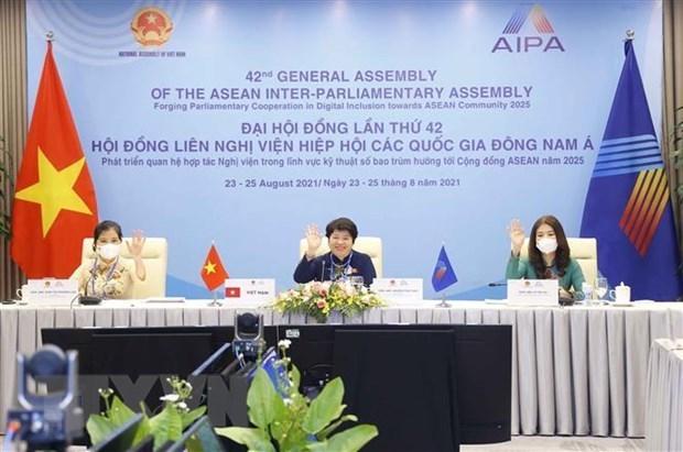 Parlamentarias de AIPA debaten el empoderamiento de mujeres despues del COVID-19 hinh anh 1