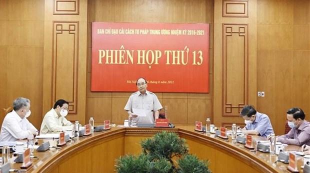 Efectuan reunion 13 del Comite Directivo Nacional para la Reforma Judicial de Vietnam hinh anh 1
