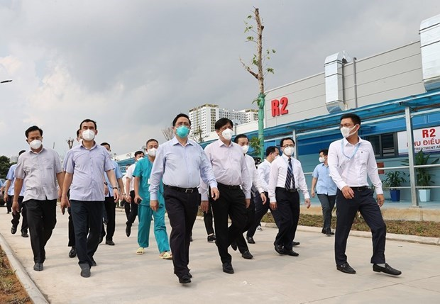 Primer ministro de Vietnam supervisa labores antiepidemicas en Hanoi hinh anh 1