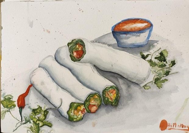 Disfrutan platos tipicos de Hanoi a traves de dibujos hinh anh 2
