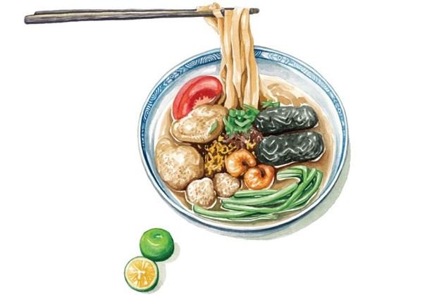 Disfrutan platos tipicos de Hanoi a traves de dibujos hinh anh 1