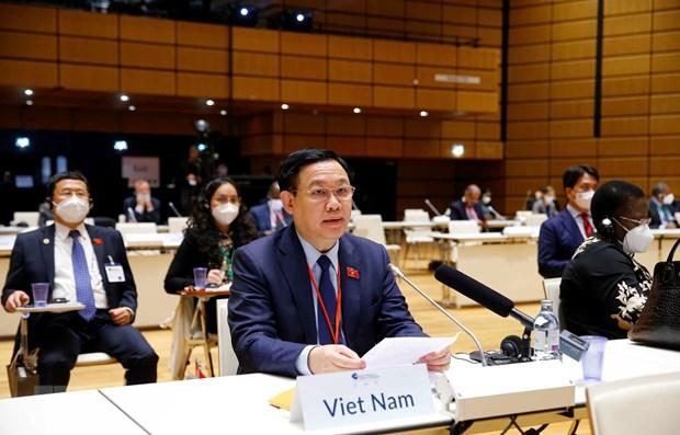 Maximo dirigente legislativo vietnamita asiste al acto inaugural de Conferencia Mundial de Presidentes de Parlamento hinh anh 1