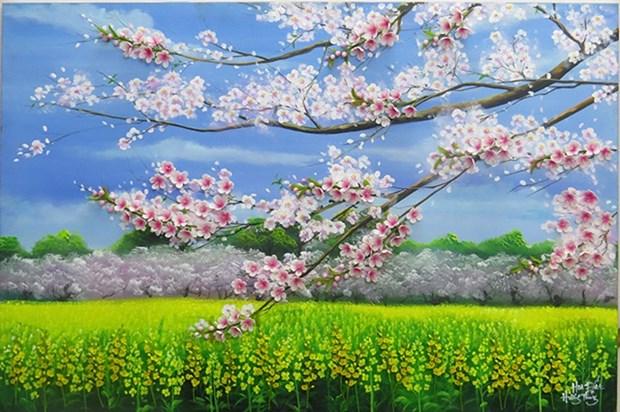 Joven vietnamita crea pinturas 3D de flores de arcilla hinh anh 1