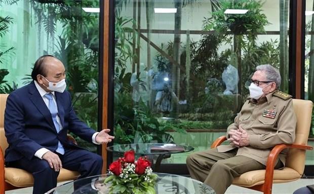 Presidente vietnamita se reune con el general cubano Raul Castro Ruz hinh anh 1