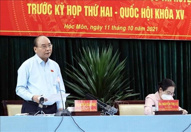 Presidente de Vietnam pide garantizar circulacion de bienes y servicios en lucha antipandemica hinh anh 1
