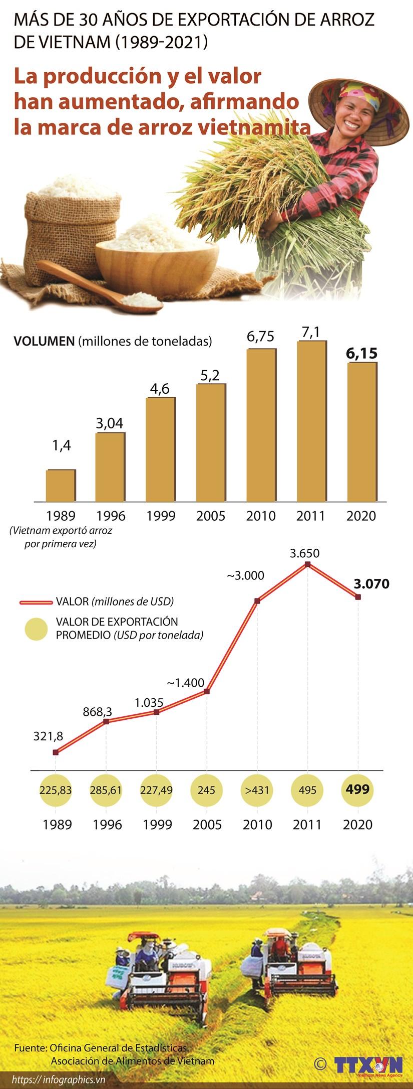 Mas de 30 anos de exportacion de arroz de Vietnam (1989-2021) hinh anh 1