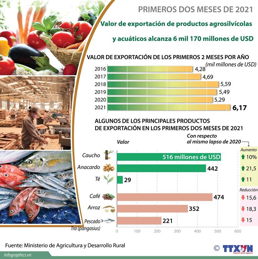 Aumenta valor de exportacion de productos agrosilvicolas y acuaticos en primeros dos meses de 2021 hinh anh 1