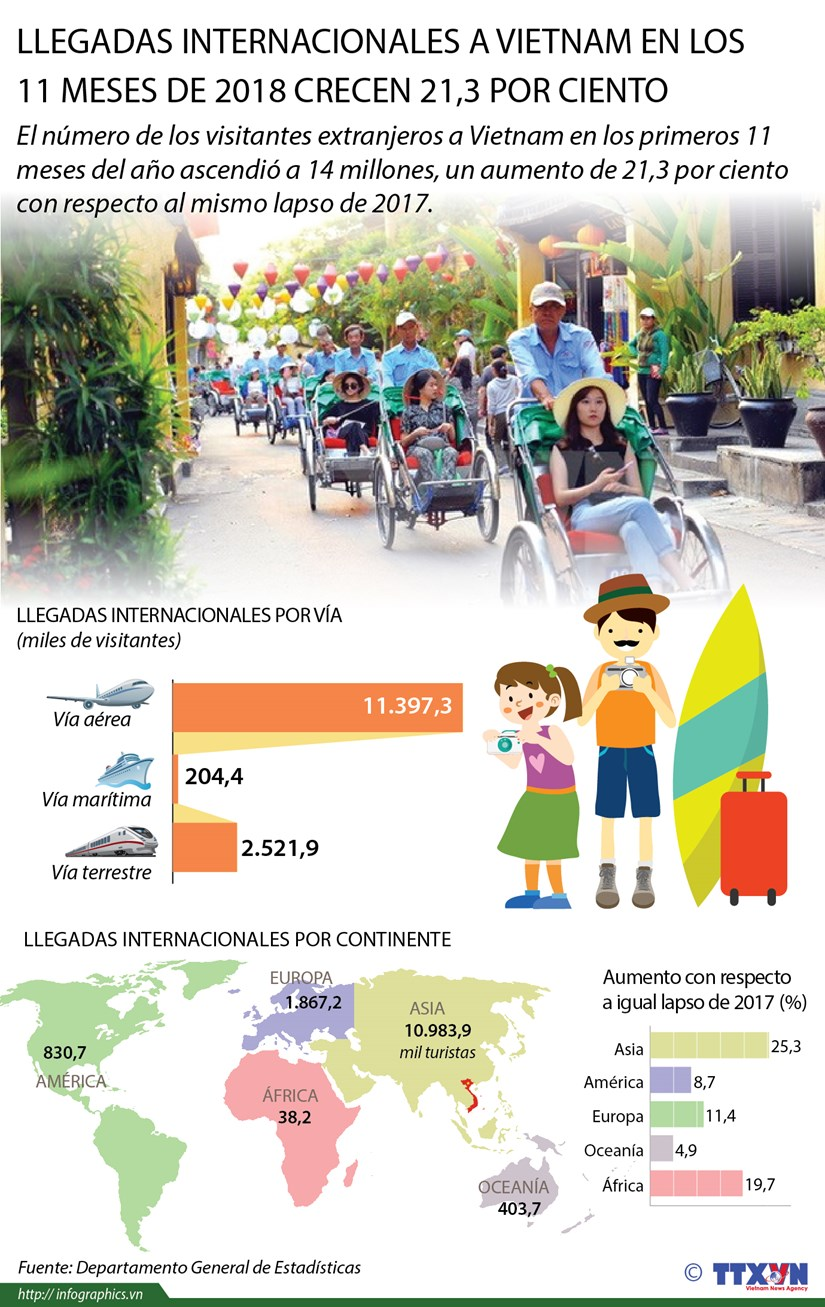 [Info] Llegadas internacionales a Vietnam en los 11 primeros meses del ano crecen 21,3 por ciento hinh anh 1